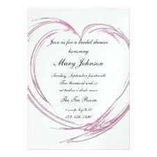 Pink Fractal Heart Bridal Shower Invitation