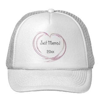 Pink Fractal Heart Just Married Hat