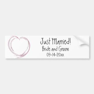 Pink Fractal Heart Just Married Wedding Bumper Stickers