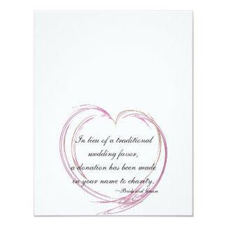 Pink Fractal Heart Wedding Charity Favor Cards Custom Invitations