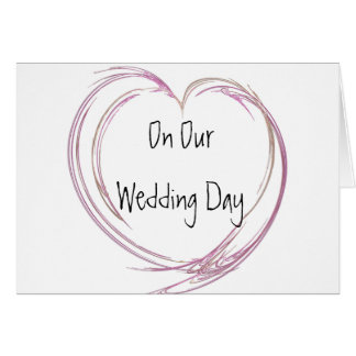Pink Fractal Heart Wedding Day Greeting Card