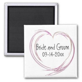 Pink Fractal Heart Wedding Magnets
