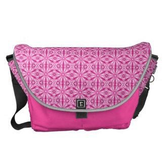 Pink Fractal Pattern Messenger Bag