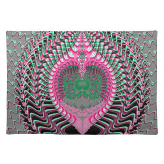 Pink Fractal Sea Shell Cloth Placemat