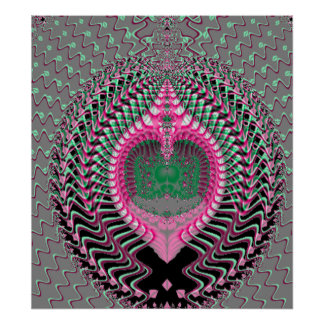 Pink Fractal Sea Shell Poster