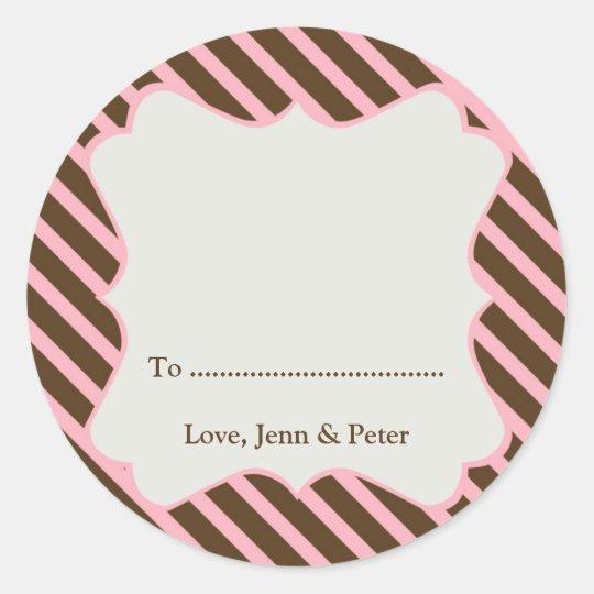 Pink frame brown stripe Christmas holiday gift tag