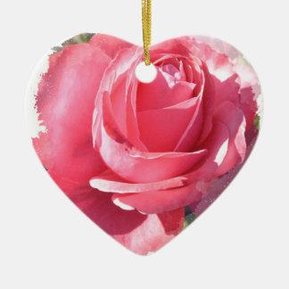Pink Framed Rose Heart Ornament