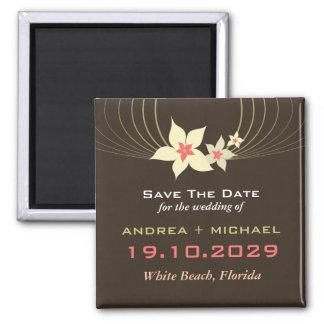 Pink Frangipani Beach Wedding Save The Date Magnet