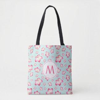Pink Frangipani Monogram Aqua Tote Bag