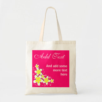 Pink Frangipani Plumeria Floral Budget Tote Bags