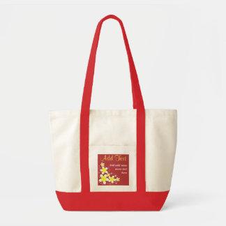 Pink Frangipani Plumeria Floral Impulse Tote Bags