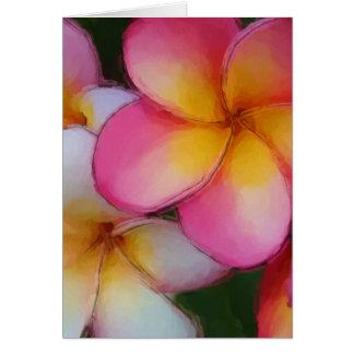 Pink Frangipani Plumeria Flowers Greeting Cards