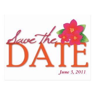 Pink Frangipani Save the Date Postcard