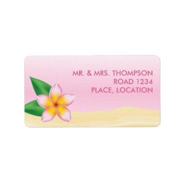 Beach Themed Pink Frangipani Tropical Flower Beach Wedding Label