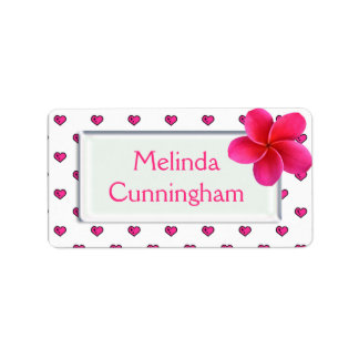 Pink Franjipani - Girls school name label