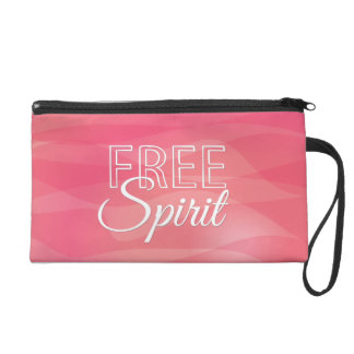 Pink Free Spirit Inspirational Quote Wristlet Clutch