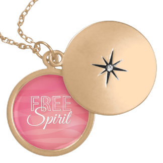 Pink Free Spirit Inspirational Quote Custom Necklace