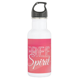 Pink Free Spirit Inspirational Quote Stainless Steel Water Bottle