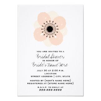 "Pink French Anemone Bridal Shower Invitation 4.5"" X 6.25"" Invitation Card"