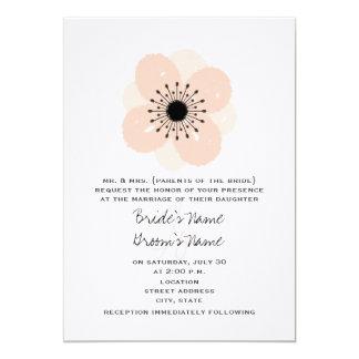 "Pink French Anemone Wedding Invitation 5"" X 7"" Invitation Card"