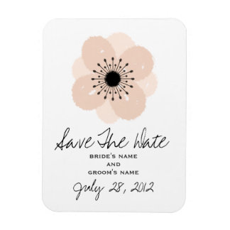 Pink French Anemone Wedding Save The Date Magnet