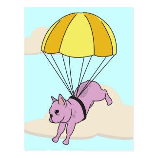Pink French Bulldog Umbrella Fun Postcard