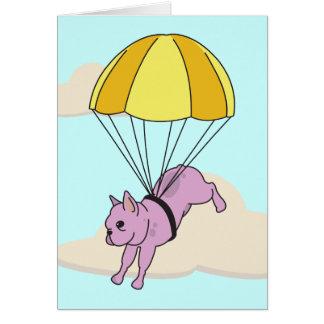 Pink French Bulldog Umbrella Fun Thank You Card