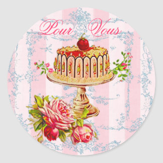 Pink French Cake For You or Pour Vous Seals Classic Round Sticker