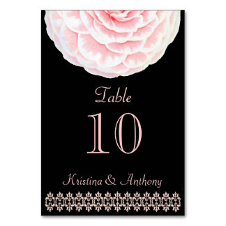 Pink French Camellia Black Wedding Table Card