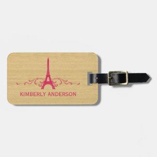 Pink French Flourish Luggage Tag