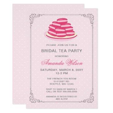 Pink French Macaron Bridal Tea Party Invitation