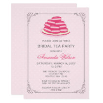 Pink French Macaroon Bridal Tea Party Invitation