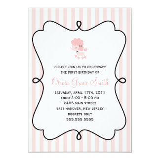 Pink French Poodle Birthday Card