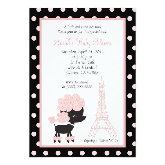 PINK FRENCH POODLE Ooh la la 5x7 Baby Shower Card