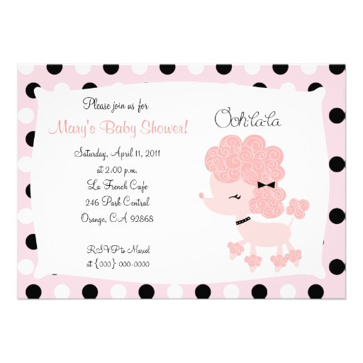 PINK FRENCH POODLE Ooh la la 5x7 Baby Shower Personalized Invite