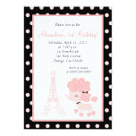 PINK FRENCH POODLE Ooh la la 5x7 Birthday 5x7 Paper Invitation Card