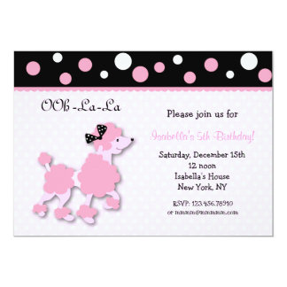 French poodle invitations announcements zazzle pink french poodle ooh la la 5x7 birthday custom i card stopboris Image collections