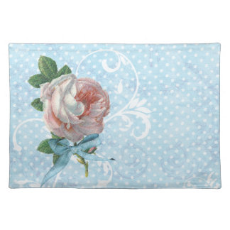 Pink French Roses and Polka Dots Cloth Placemat