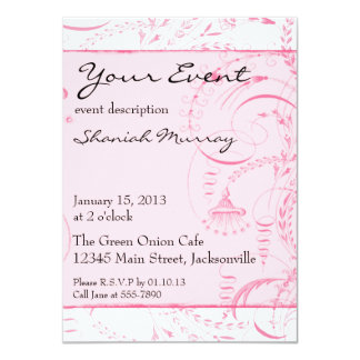Pink French Toile Custom Invites