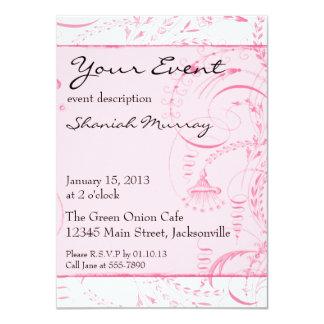 "Pink French Toile Custom Invites 4.5"" X 6.25"" Invitation Card"