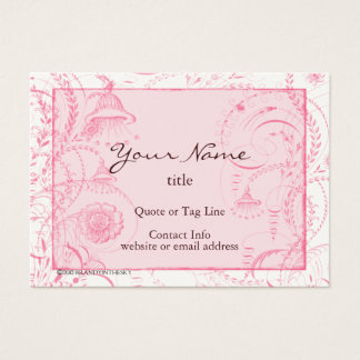 Pink French Toile Flourishes Custom Business Card