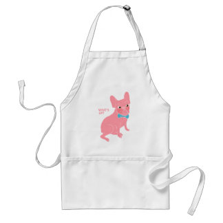 Pink Frenchie - What's Up? Adult Apron