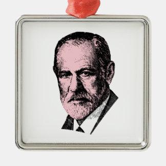Pink Freud Sigmund Freud Square Metal Christmas Ornament