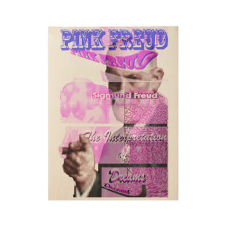 Pink Freud with Cigar Wood Poster