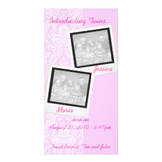 Pink Frilly Lace Twin Photo Announcement Cards Photo Card Template