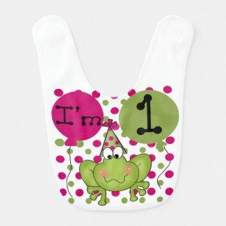 Pink Frog 1st Birthday Bib