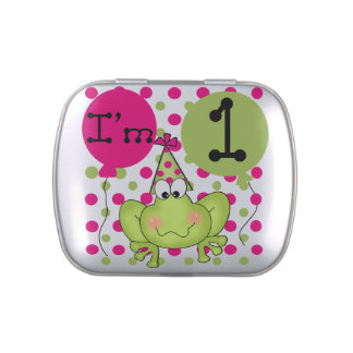 Pink Frog 1st Birthday Candy Tins and Jars