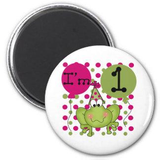 Pink Frog 1st Birthday Refrigerator Magnets