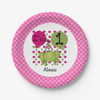 Pink Frog 1st Birthday Paper Plates