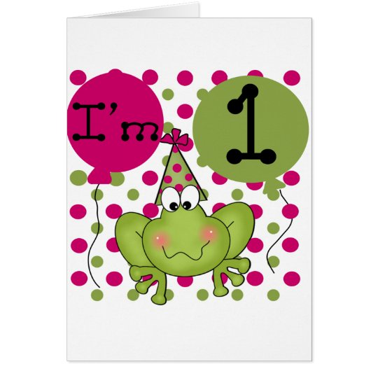 Pink Frog 1st Birthday Tshirts and Gifts Card
